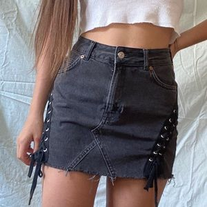 Black Lace Up Denim Skirt